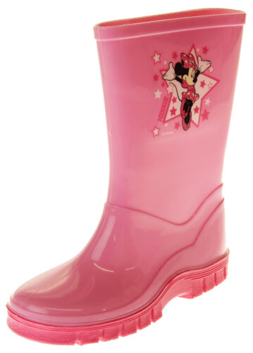 Girls Disney Minnie Mouse Waterproof Comfy Pink Wellies Wellington Boots Size 9