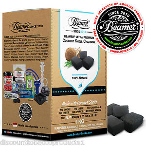 1 Kilo 108 Pc Beamer 100% Natural Coconut Shell Charcoal Hookah Shisha Coal Coco