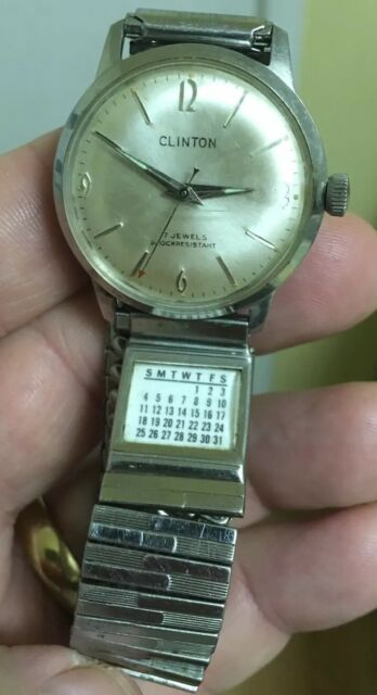 "2bb6ff6cde4 Vintage CLINTON 17 Jewels Shock Resistant ""Calendar Band"" Men s Wind-Up  Watch"