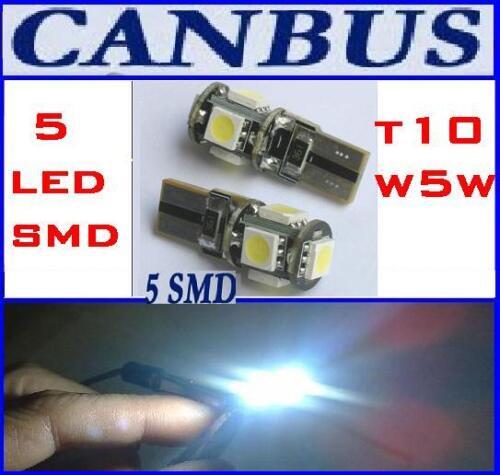 2 LAMPADINE A 5 LED SMD T10 W5W BIANCHE CANBUS NO SPIA ERRORE POSIZIONI O TARGA