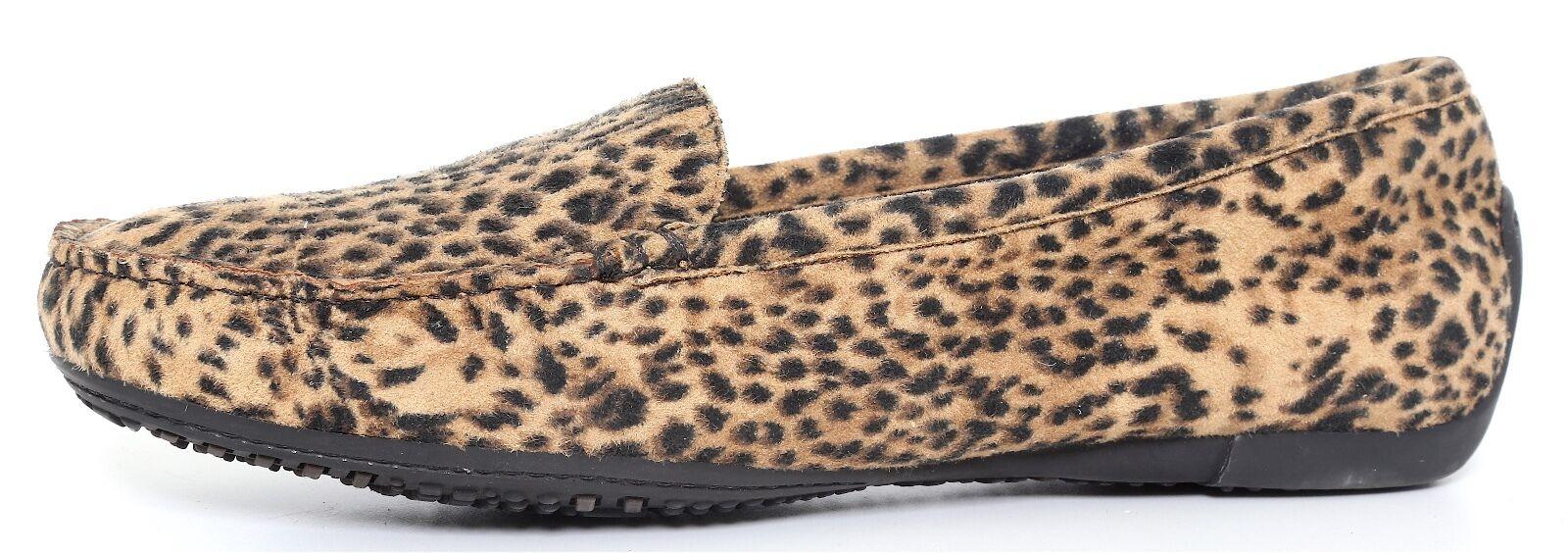 Stuart Weitzman Women's Black Brown Suede Cheetah Print Slip Ons 2750 Sz 8.5 M