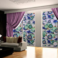 45cm*100cm FLORAL Privacy Stained Glass Window Film Vinyl Static Sticker Decor