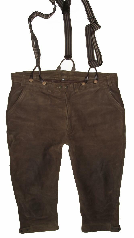>>> Herren- Trachten- Kniebund- LEDERHOSE / Trachtenhose in oliv- grün Gr. 56