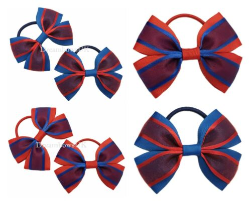 Royal blue and red organza hair bows on thick bobbles girls school accessories