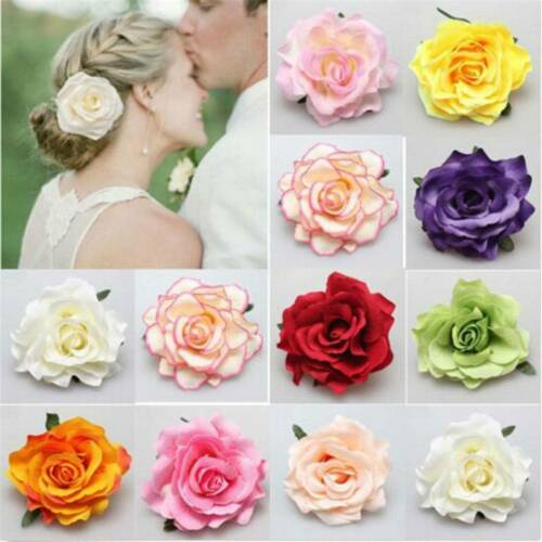 New Rose Flower Hairpin Brooch Wedding Bridesmaid Party Hair Accessories Clip QK