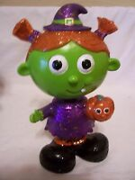 Resin Bobble Head Witch Pig Tails Halloween Decoration Trick O Treat Fall Autumn