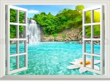 Waterfall Lotus 3D Window View Removable Wall Sticker Decal home art decor mural