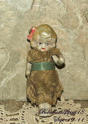 Antique MINIATURE Jointed Arms Original Dress All Bisque Pre 1930's DOLL