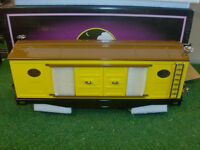 Mth Trains No. 10-201 214 Yellow & Brown Box Car With Nickel Trim - Very Nice