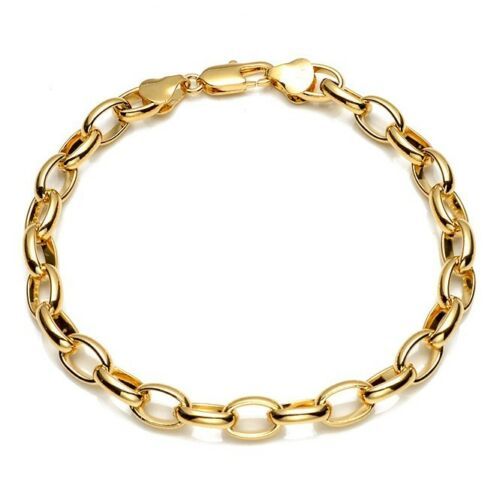 """Men//Women Bracelet 18K Yellow Gold Filled Charms Chain 8/"""" ring Link Jewelry"""