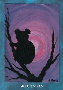 Original-ACEO-Koala-miniature-acrylic-painting-not-framed