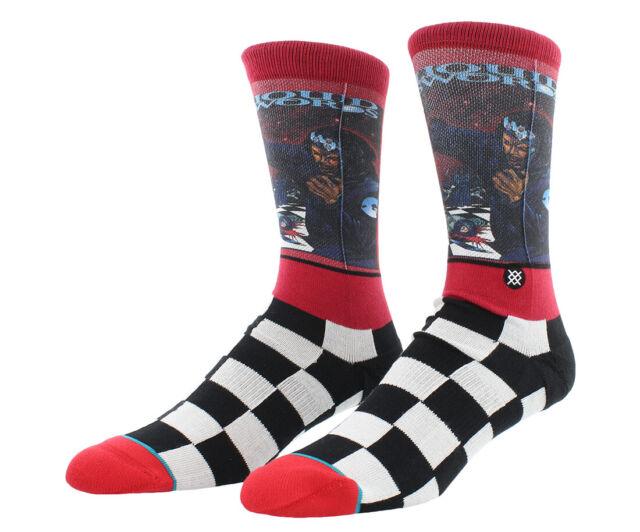 Stance Mens Utah Utes Varsity M526C17UTA Black Red White Gray Crew Socks Size L