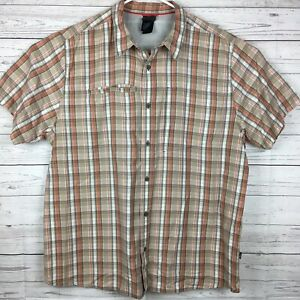 The-North-Face-Button-Front-Short-Sleeve-Plaid-Shirt-Mens-XXL-Orange-Tan-Plaid
