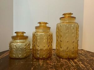 Vintage-LE-Smith-Imperial-Atterbury-Scroll-Amber-Glass-Canister-Set-of-3