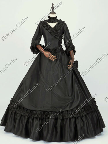 Victorian Costumes: Dresses, Saloon Girls, Southern Belle, Witch    Victorian Fantasy Bustle Black Masquerade Dress Ball Gown Steampunk 330 $204.75 AT vintagedancer.com