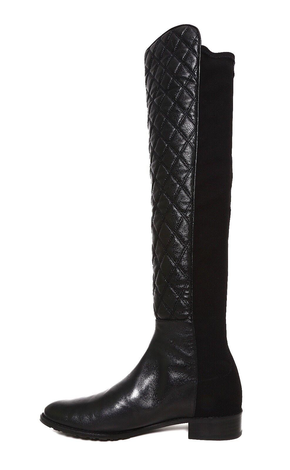 Stuart Weitzman Quiltboot Knee Leather Leather Leather Boot Black Women Sz 8.5 M 5647  f77f6c