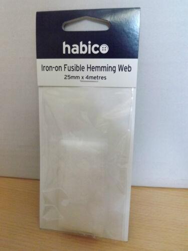 HABICO Haberdashery IRON-ON FUSIBLE HEMMING WEB HO//11 25mm x 4 metres