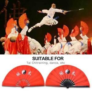 14-8-034-Tai-Chi-Martial-Arts-Kung-Fu-Bamboo-Fan-Red-Dance-Pratice-Folding-Peony-TD