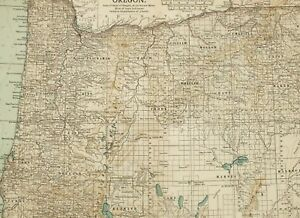 Wheeler Oregon Map.1903 Antique Map Oregon Clackamas Wheeler Jackson Klamath Indian