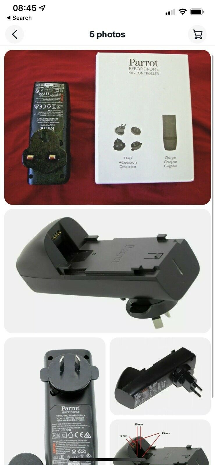 Genuine Parrot Bebop1 Drone Mains Powered Battery Charger & Worldwide Adapters.