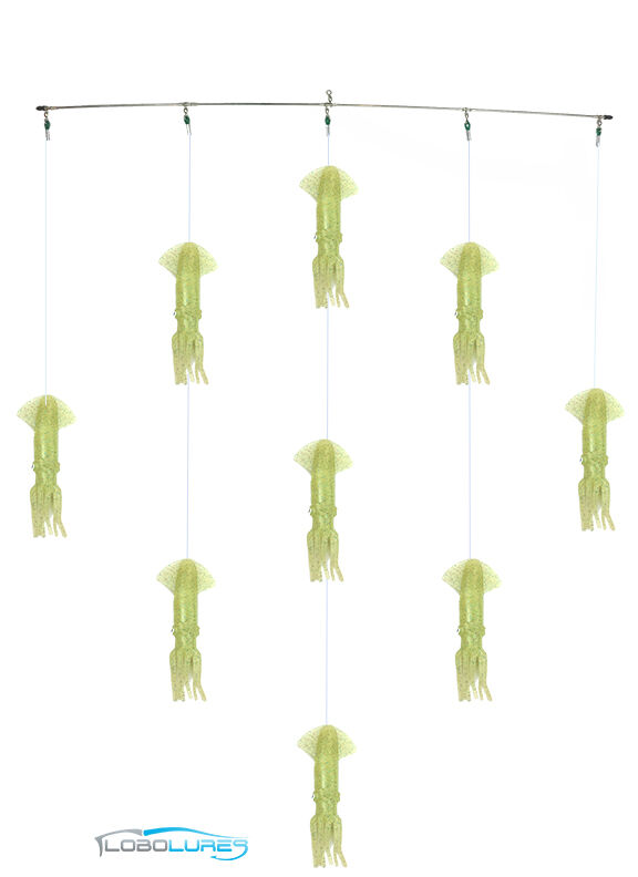 LoboLures  36  Signature Series Super Glow 9  Mold Craft Squid Spreader Bar