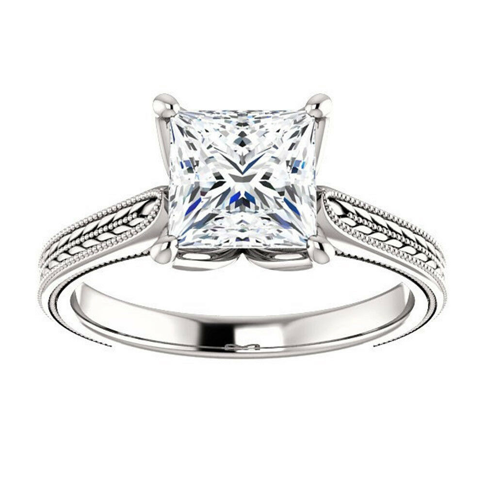 Solid 14kt White gold Rings 1.75 Ct Diamond Engagement Rings All Size 5 6 7 8 9