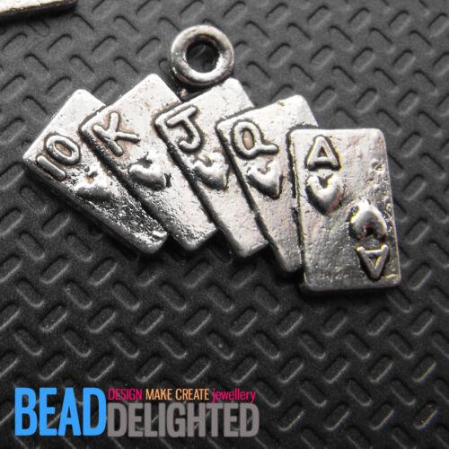 10 Metal Plateado Plata Naipes Poker encantos 25mm la fabricación de joyas Resultados