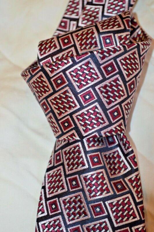 "$195 Nwt Ermenegildo Zegna Navy W/white Wine Geometrics Mens 3.5"" Woven Silk Tie"