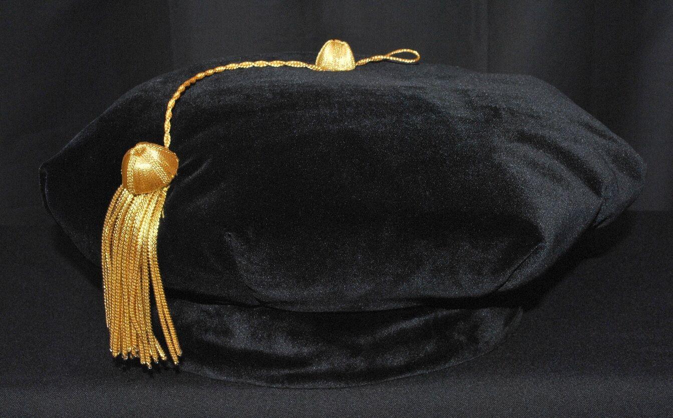 Black Velvet with a Gold Tassel Satin Band Adjustable Sizes XS-XL Fristaden Graduation Doctoral Graduation Tam 4-Sided