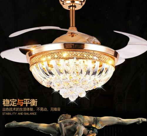 """42/""""Crystal Led Lighting Chandeliers Remote Control Retractable Ceiling Fan Lamps"""