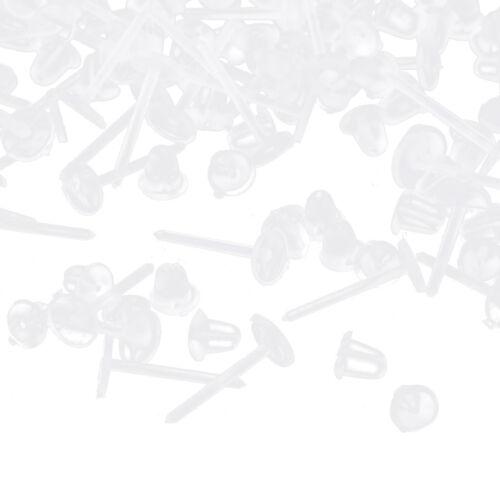 200 Pares De Aretes De Alergia Libre Transparente Stud de plástico transparente vástago de resina de vuelta