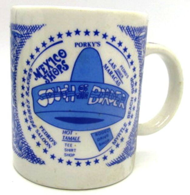 South of the Border Blue & White SOMBRERO Hat Vintage Pedro Coffee Cup Mug