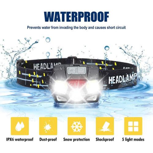 Head Torch Rechargeable Sensor LED Headlamp Waterproof Headlight Camping Lamp UK