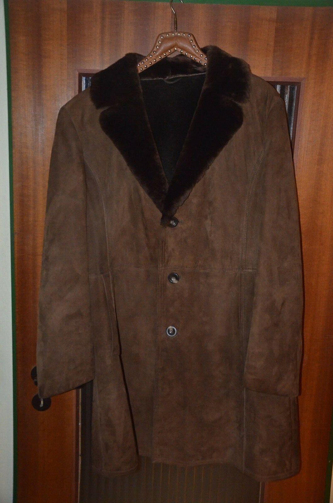 Gepflegter Wildleder Mantel   lange Jacke Vintage mit Fellkragen  Gr. 52