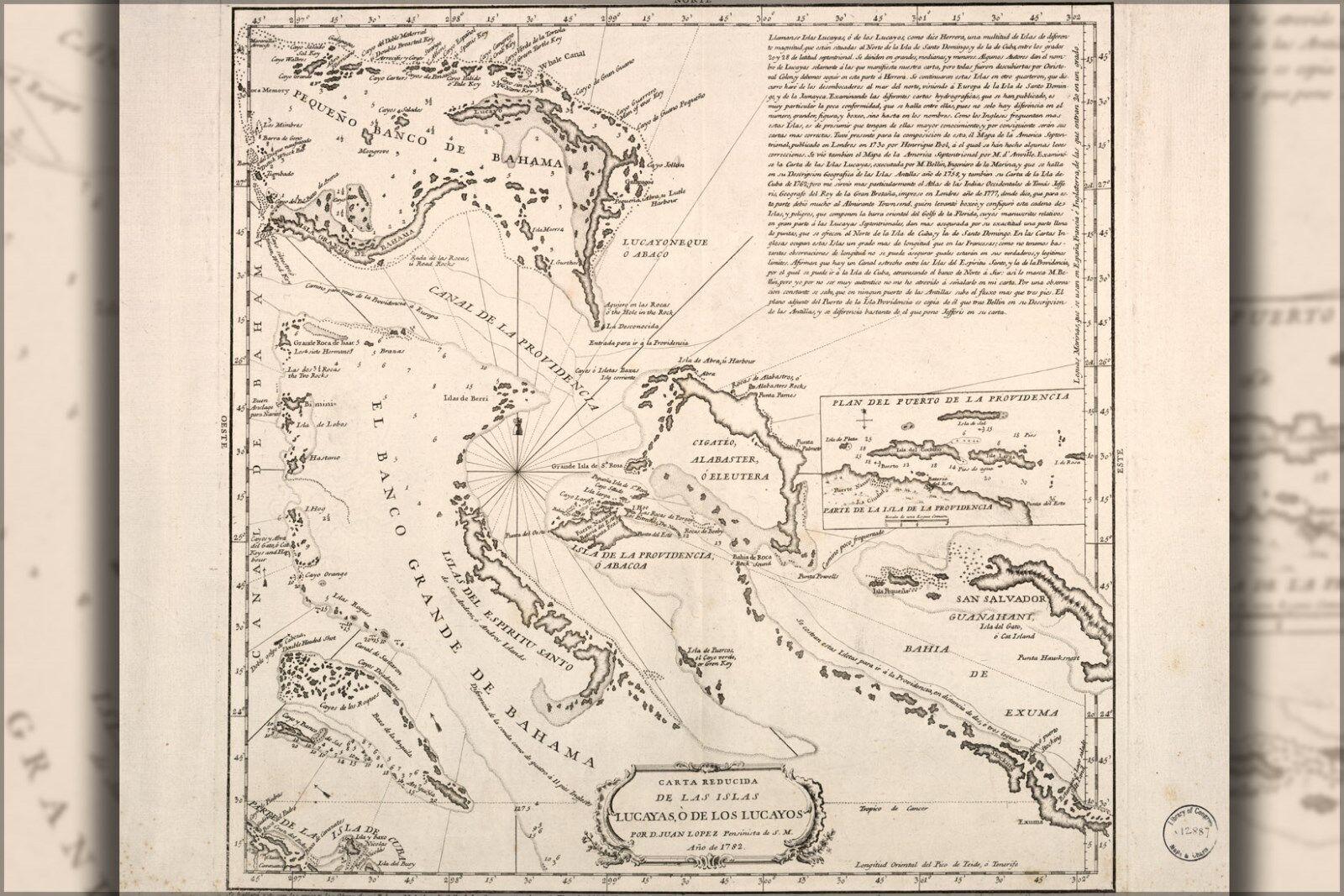 Plakat, Viele Größen; Karte von Bahamas Bahama Inseln