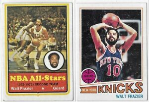 Topps Walt Frazier Lot Of 2 (1) 1973-74 (1) 1977-78 No. 10 & 129 Low Grade