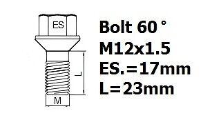 Saab 900 1993-2000 wheel locking bolts /& nuts 12x1,5