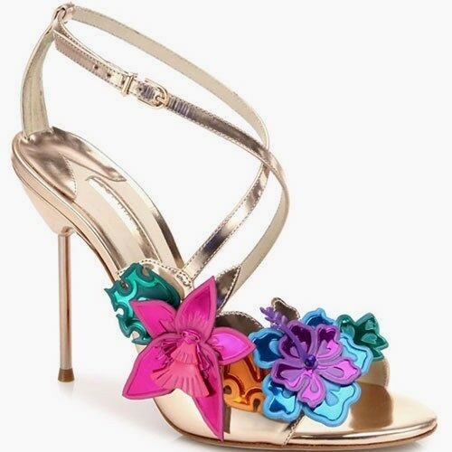 Sophia Webster Hula 3D Floral-appliqué pink gold Leather Sandal Heel sz 6  1065