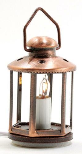Casa De Muñecas linterna de cobre con iluminación eléctrica 12V Lámpara Luz de la vela