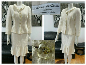 VINTAGE-ANNA-DE-ROSSI-COUTURE-ITALY-IVORY-TWEED-BOUCLE-WOOL-JACKET-SKIRT-SUIT-44