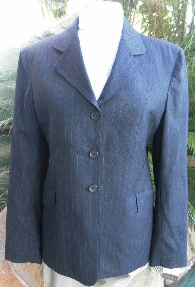 Ladie's Hunt Coat by Allon Equestrian in Navy with Pinstripe Size 14T
