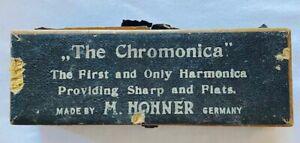 "Antique Vintage ""NO THE"" Chromonica"" M.Hohner Harmonica-C-Original Case-Age READ"