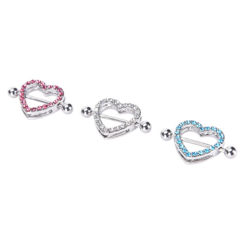 Details about  /1Heart Shaped Nipple Shield NippleRing tainless Steel Barbell Piercing JeweB`UAT