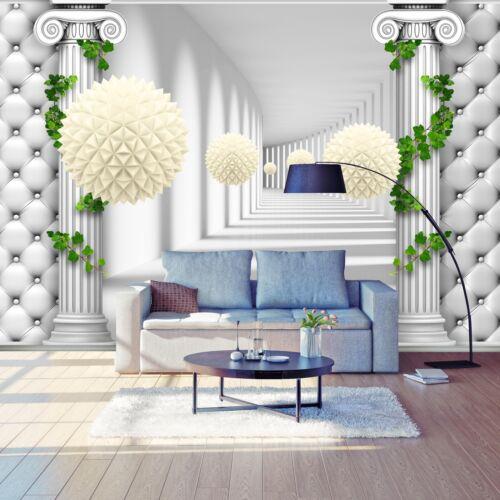 Fototapete Korridor Säulen Polsterwand 3D Kugeln Raumerweiterung Polster Leder
