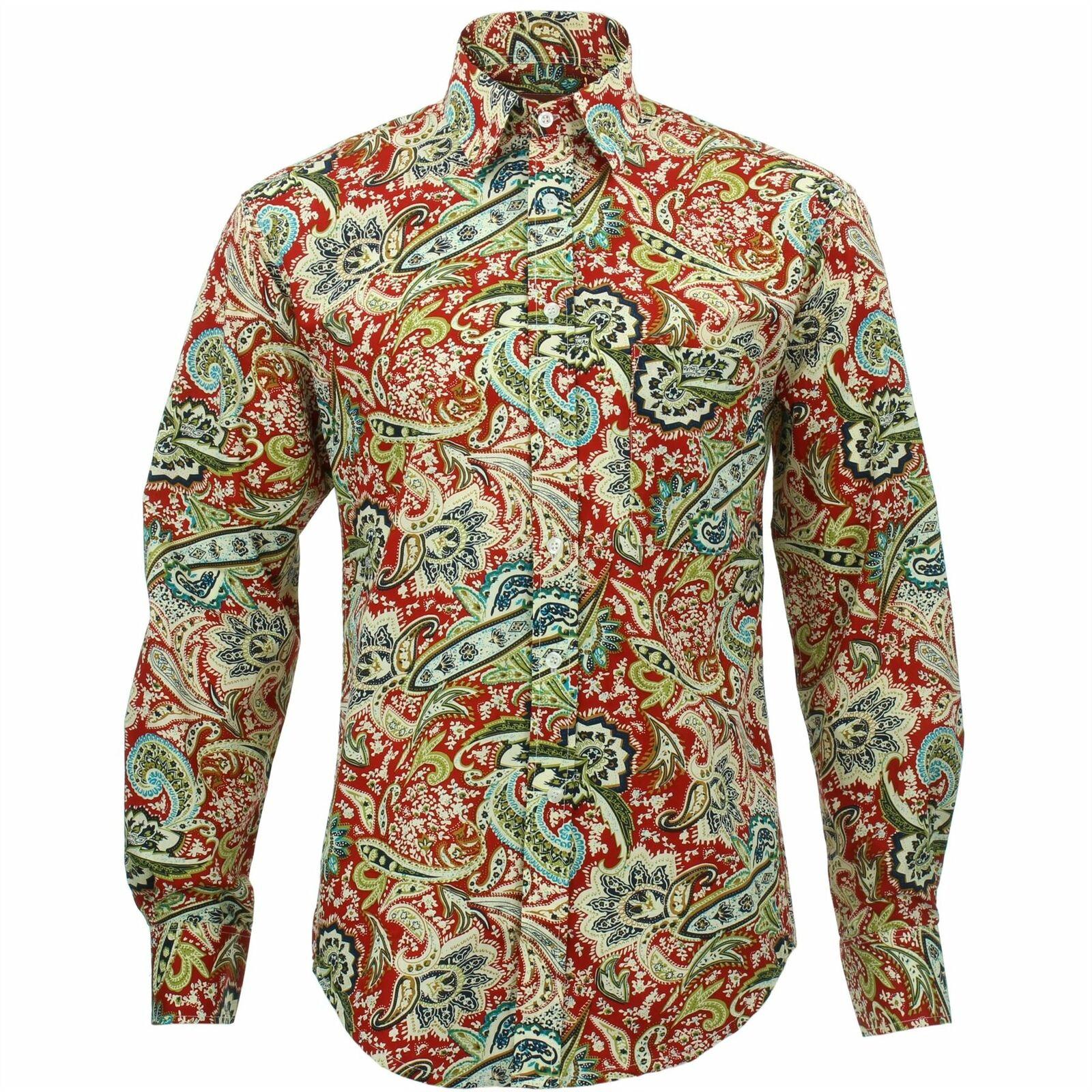 Herren Shirt Loud Originals Regular Fit Paisley Rot Retro Psychedelic Kostüm | Elegante Form