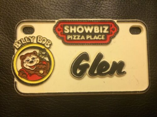 Vintage 1980/'s ShowBiz Pizza Place Billy Bob Souvenir Name Plate Badge Glen