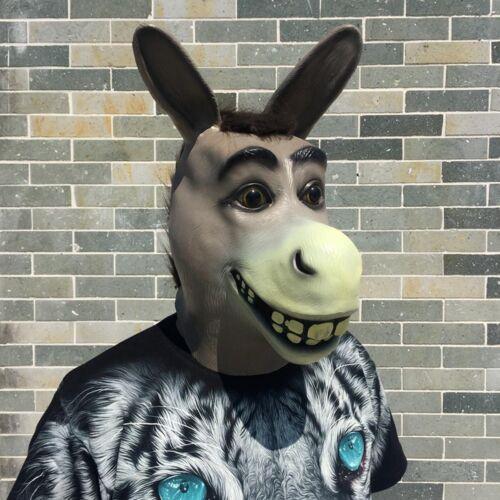 NEW Vivid Natural Latex Donkey Full Face Cosplay Halloween Mask Props LJ127
