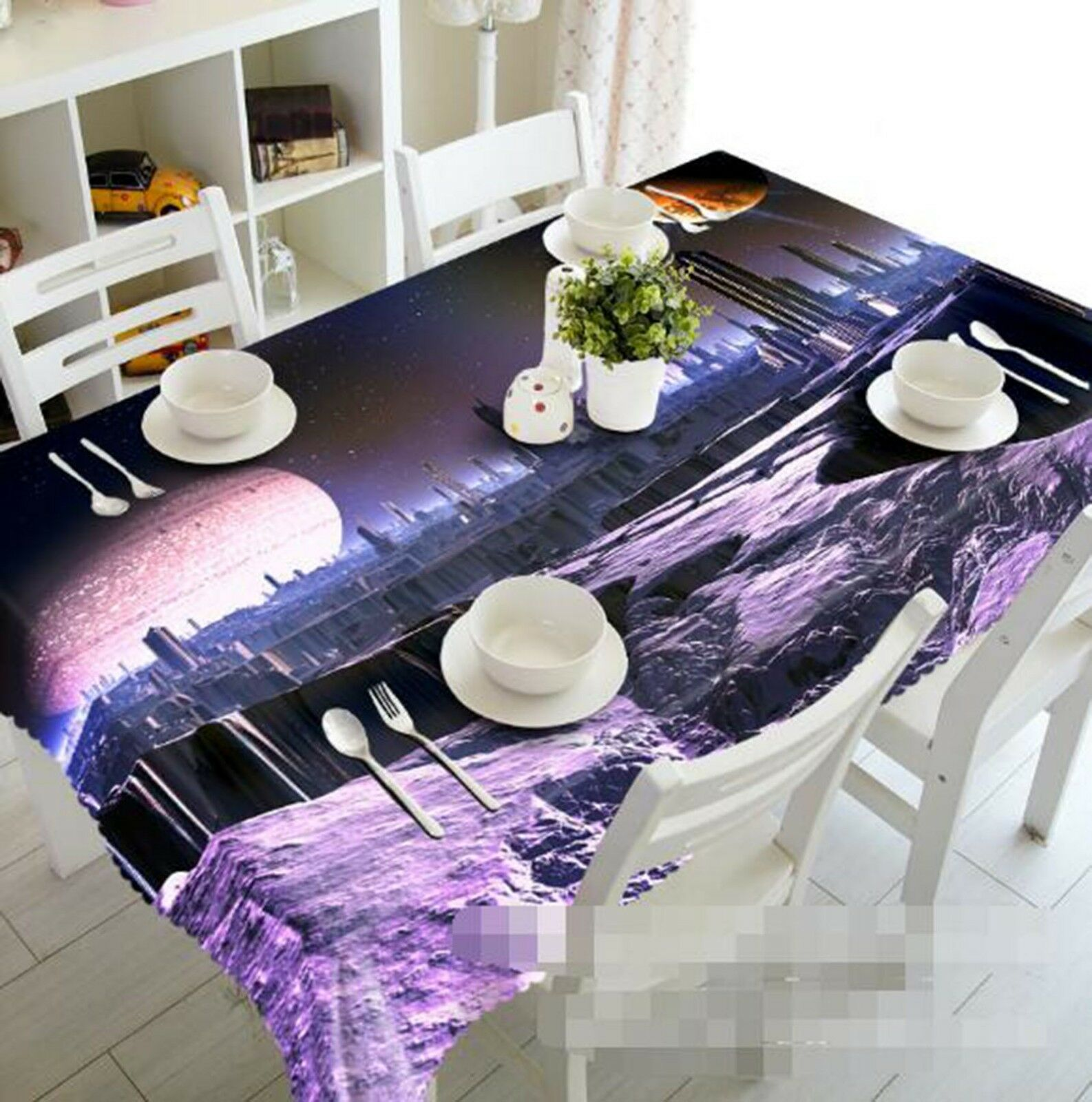 3D Road Hill Moon 038 Tablecloth Table Cover Cloth Birthday Party Event AJ Lemon