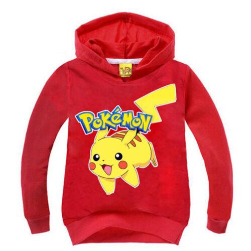 Kids Pikachu Hooded Boys Girls Casual Pokemon Pullover Sweatshirt Jumpers Tops