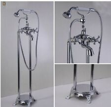 Chrome Brass Bathroom Tub Faucet Free Standing Floor Mounted Tub Filler Mixer